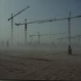 Die Baustelle bei einem Sandsturm