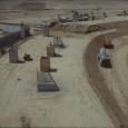 Aufschütten der Berme und betonieren der Fundamente